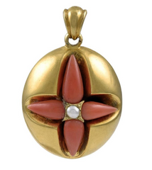 Victorian Gold, Coral and Pearl Pendant