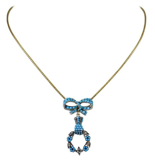 Pretty Victorian Turquoise and Rose Diamond Pendant Necklace