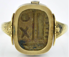Ancient Egyptian Scaraboid in a Gold Ring Mount
