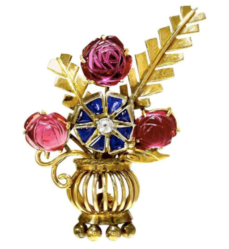 Gold and Gem Set Vase of Flowers Brooch