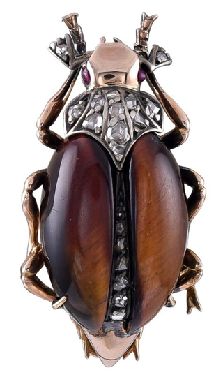 Antique Gold and Gem Set Beetle Brooch