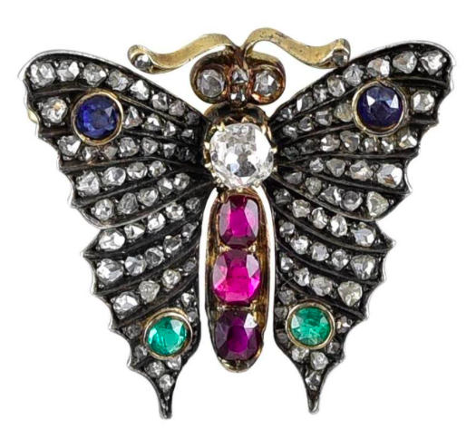 Antique Multi Gem Set Silver Gold Butterfly Brooch