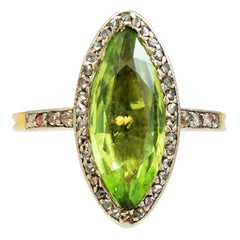 19th Century French Marquise Peridot Diamond Platinum Gold Cluster Ring