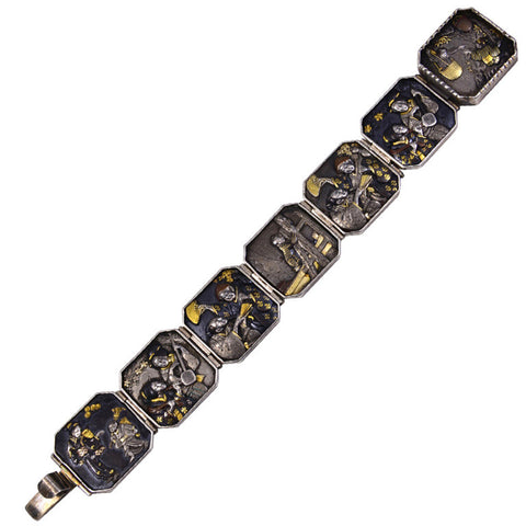 Antique Seven Panel Japanese Shakudo Bracelet