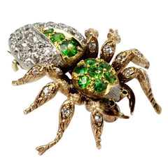 Demantoid Garnet Diamond Platinum Gold Spider Brooch