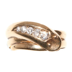 Victorian Diamond Gold Single Head Snake Engagement Ring