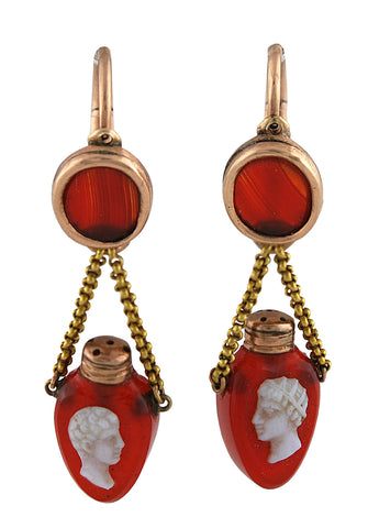 A Pair of Georgian Sardonyx Cameo Earrings in the form of Miniature Scent Flasks.