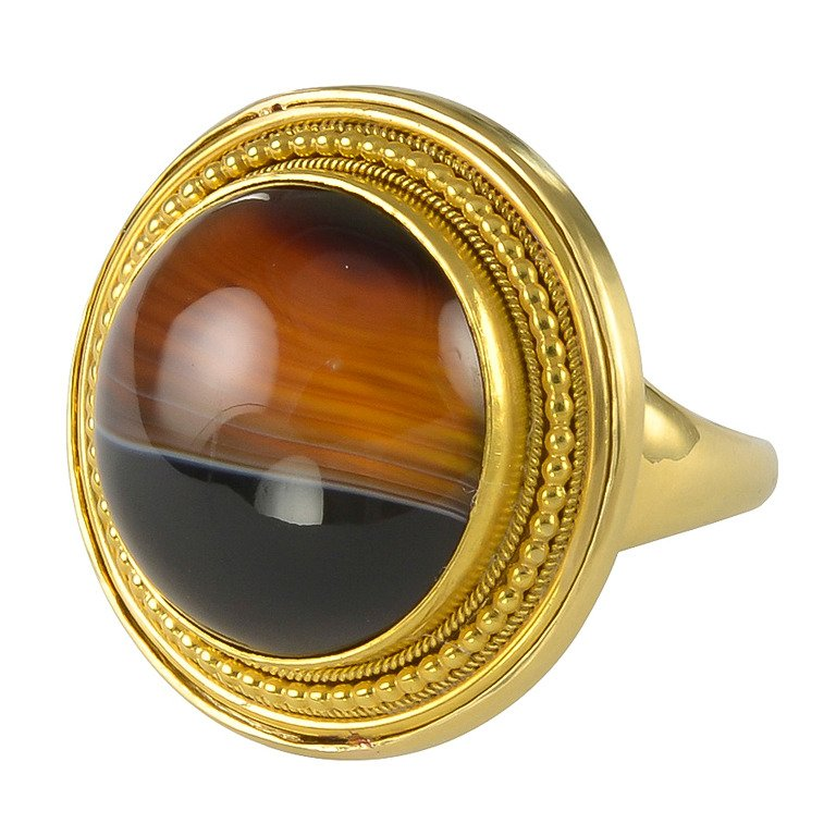 Victorian Banded Agate Gold Ring