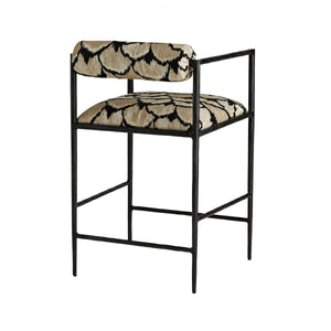 Barbana Counter Stool Ocelot Embroidery
