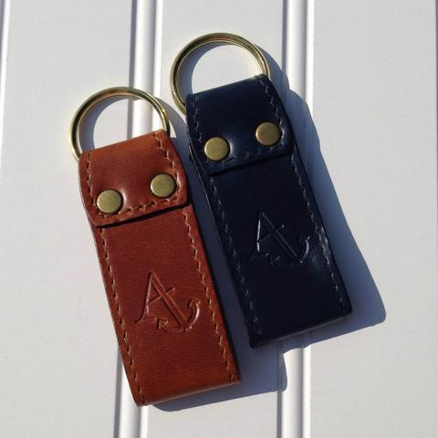 Leather Key Fobs with Embossed Anchor