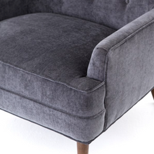 Load image into Gallery viewer, Clermont Chair - Charcoal Worn Velvet