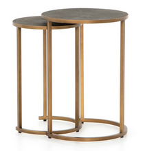 Load image into Gallery viewer, Shagreen Nesting Table - Antique Brass