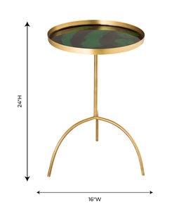 Enamel Black and Green Accent Table