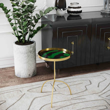 Load image into Gallery viewer, Enamel Black and Green Accent Table