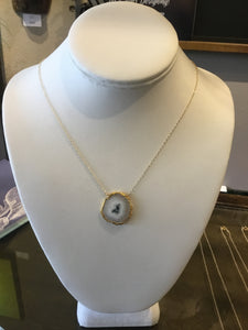 agate gold necklace