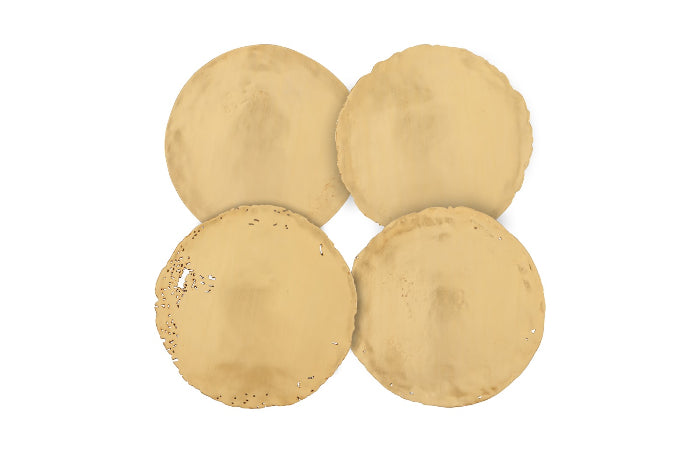 Gold Cast Oil Drum Wall Discs, Set of 4