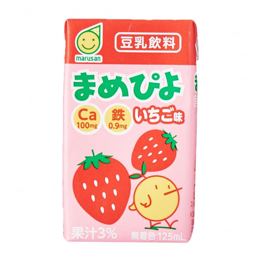 まめピよいちご味豆乳飲料 Marusan Mini Drink Mamepiyo Strawberry Japanese Soybean Milk With Straw 125ml japanmart.sg