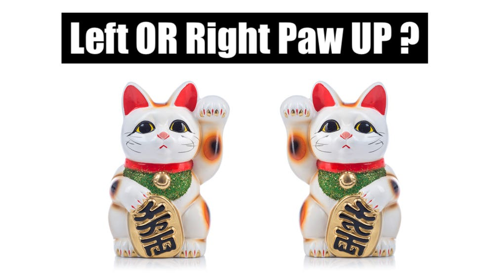 Maneki Neko Left or Right Paw