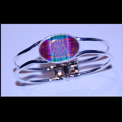 Silver plated bangle. - Tartan?