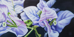 Happiness - White Bougainvillea Flower Oil Painting