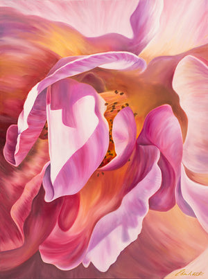 Intimate - Pink Rose Flower Oil Painting