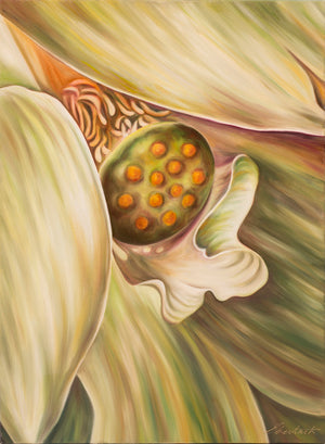 Goddess Flower - Green Lotus Flower Oil Painting