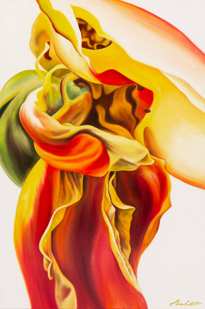 Letting Go - Contemporary Rose Flower Oil Painting