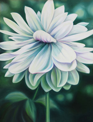 Peace - Dahlia Flower Oil Painting