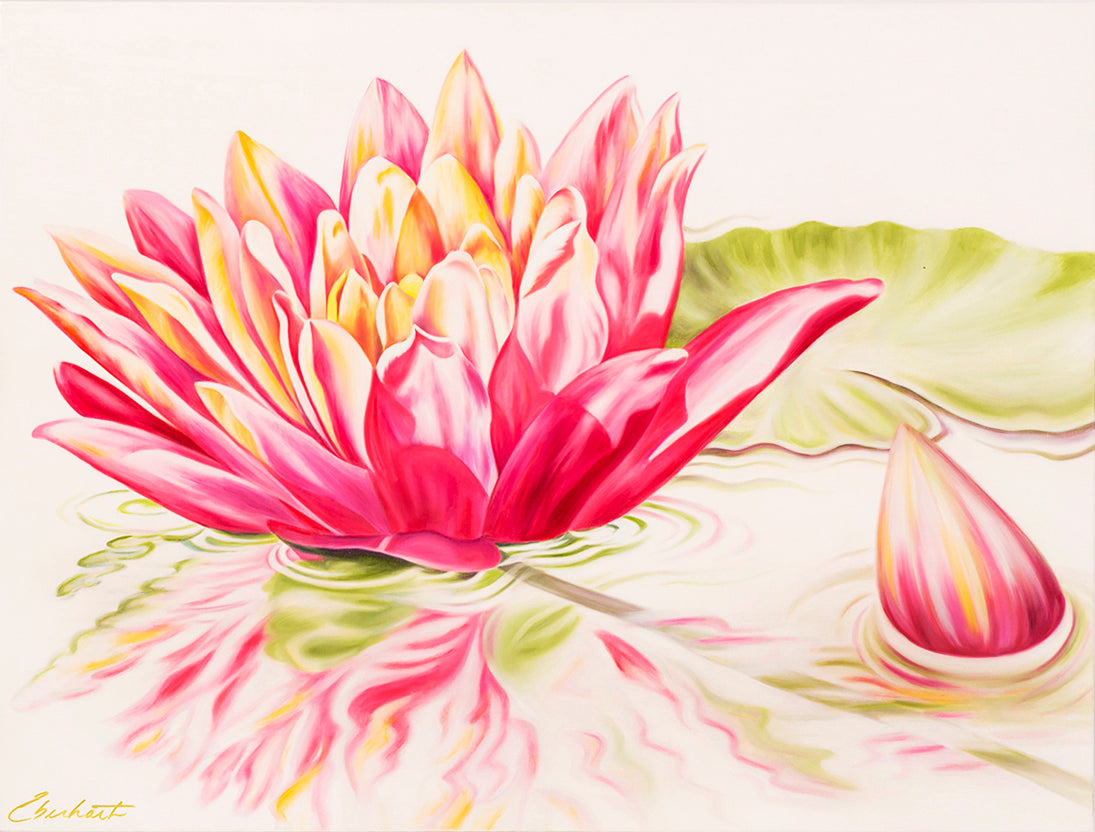 Reflections - Waterlily Flower Oil Painting
