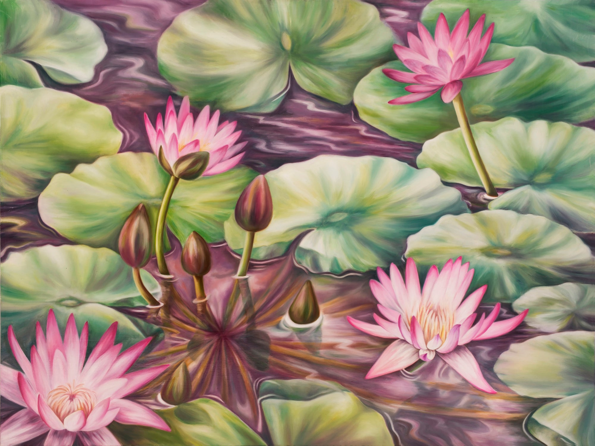 Serenity - Water Lily Pond Original Oil Painting - Fine Art