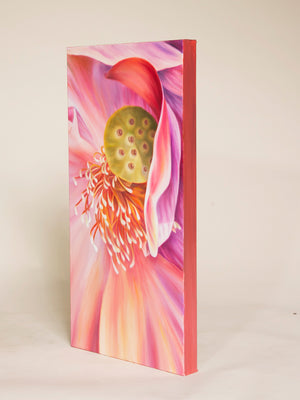 Starting Fresh - Pink Lotus Flower Oil Painting