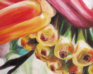 Ula'ula - Heliconia Flower Oil Painting