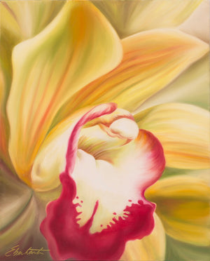 Welcome - Orchid Flower Oil Painting
