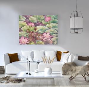 Serenity - Water Lily Pond Oil Painting