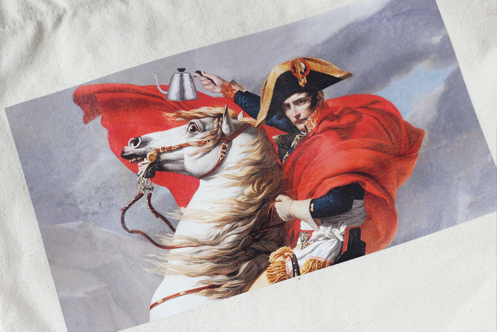 Full-colour print of Napoleon Bonaparte on a horse, holding a Buono Kettle.