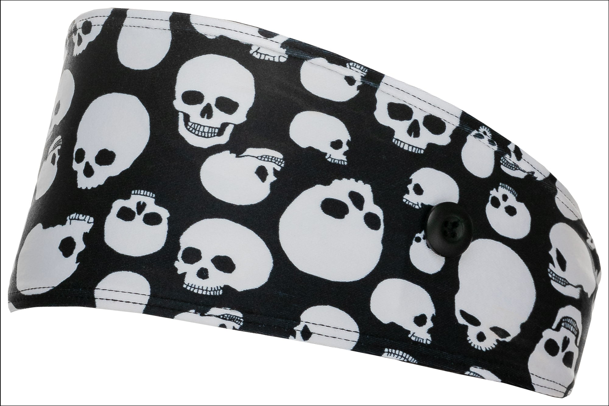 Headband With Buttons for Mask - Skull - Best selling, ear-saver, Button Headband. Non-slip and moisture-wicking.