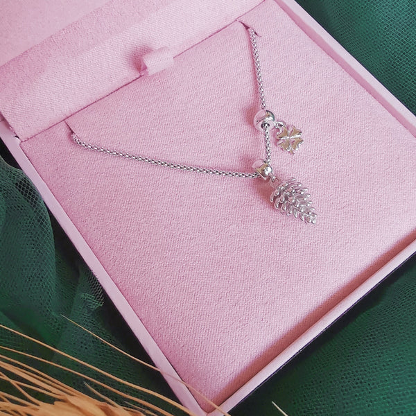 Pine Cone with Clover Necklace & Mini Teddy