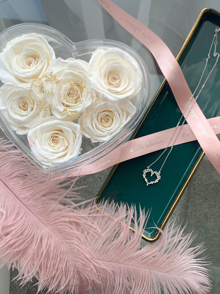 """Obsessed with your heart"" & Mini Heart Rose Box"
