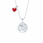 Round Garden Rose Necklace with Red Heart