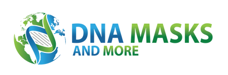 DNA Masks and More logo with Earth and Double helix