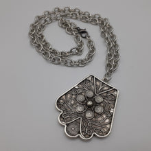 Load image into Gallery viewer, Floral design pewter pendant on heavy silver toned chain. Nice and Pretty Jewelry. Canada