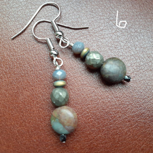 red creek jasper and pyrite earring. copper and red stone bead earrings. nice and pretty jewelry