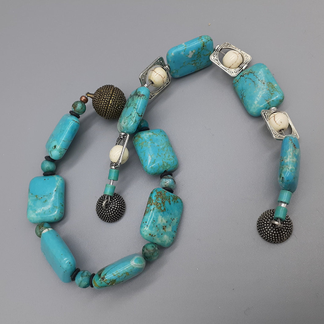 Turquoise bracelets with magnetic clasps. Turquoise dyed Howlite bracelets with magnetic clasps. Nice & Pretty Jewelry, handcrafted in Canada