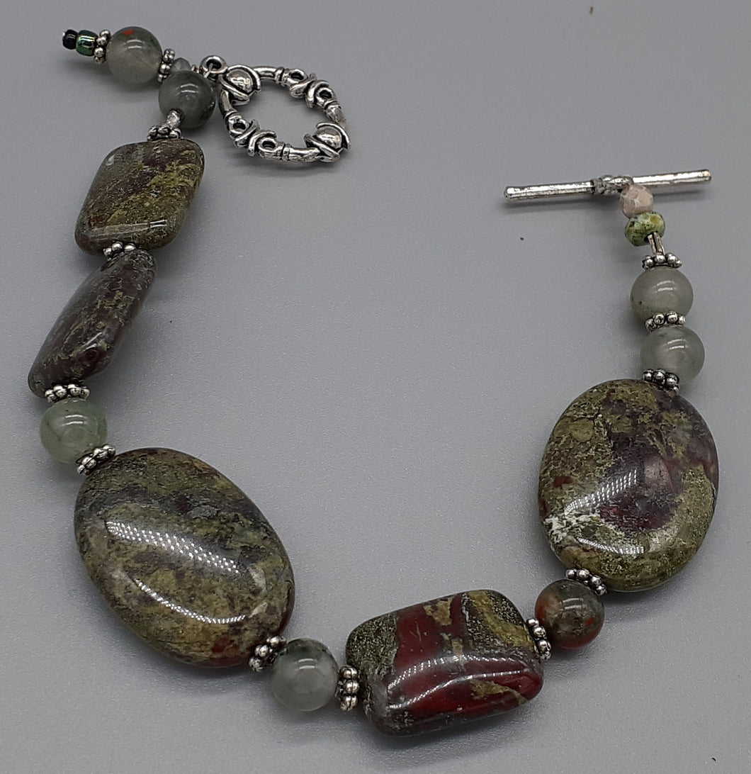 Dragon blood Jasper bead bracelet. Dark green and burgandy. Nice & Pretty Jewelry. Canada
