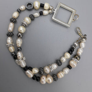 Pearl bracelet with accents of black and rhinestones. Nice & Pretty Jewelry B.C. Canada