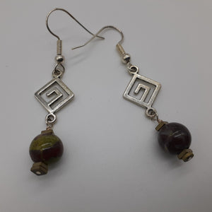 Dragon blood Jasper bead earring. Dark green and burgandy earring. Nice & Pretty Jewelry