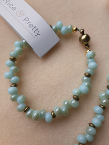 pale blue with hints of pale turquoise bead bracelet with magnetic clasp. Nice and Pretty Jewelry handcrafted in Canada