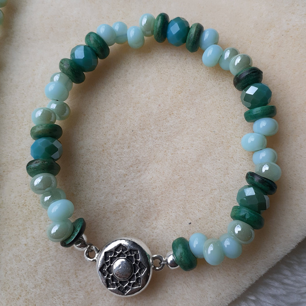 pale blue with hints of pale turquoise bead bracelet with magnetic clasp,  Nice and Pretty Jewelry handcrafted in Canada