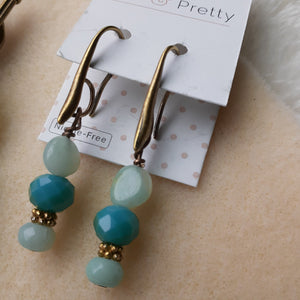 pale bue and green earrings. Nice and Pretty Jewelry