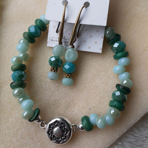 pale blue with hints of pale turquoise bead  bracelet magnetic clasp. Green and blue earrings. Nice and Pretty Jewelry handcrafted in Canada